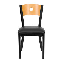 Flash Furniture - Flash Furniture Hercules Series Circle Back Metal Chair in Natural - Flash furniture - Dining chairs - XUDG6F2BCIRBLKVGG - Provide your customers with the ultimate dining experience by offering great food service and attractive furnishings. This heavy duty commercial metal chair is ideal for restaurants hotels bars lounges and in the home. Whether you are setting up a new facility or in need of a upgrade this attractive chair will complement any environment. This metal chair is lightweight and will make it easy to move around. For added comfort this chair is comfortably padded in vinyl upholstery. This easy to clean chair will complement any environment to fill the void in your decor. [XU-DG-6F2B-CIR-BLKV-GG]