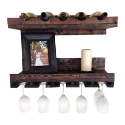 (del)Hutson Designs - Rustic Luxe Tiered Wine Rack- set of 2 - 5 bottles/15 glasses - his is for a set of 2 selves. 1 glass holder 1 bottle holder