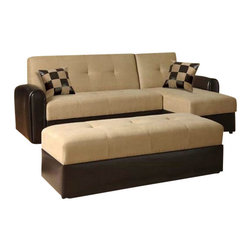 """Acme - 2-Piece Lakeland Ii Reversible Sectional Sofa with Chocolate Vinyl Base - 2-Piece Lakeland II Reversible sectional sofa with chocolate vinyl base and thick camel microfiber with sleeper. Chaise folds down to become a sofa bed and the loveseat back folds down to become a sofa sleeper as well, shown in the additional photos below. storage space underneath chaise and sofa as well. Overall measurements 94"""" x 34"""" (54"""" long chaise) x 35"""" H. When laying flat measures 94"""" x 43"""" (64"""" Long chaise) x 18"""" H. Ottoman also available separately and measures 55"""" x 21"""" x 18"""" H."""