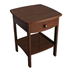 Winsome Wood - Winsome Wood Curved End Table / Night Stand with Antique Walnut Finish X-81949 - Elegantly simple, this night stand has room for all the necessary nighttime accessories. Its curved, smooth design blends well with any style of bedroom decor.
