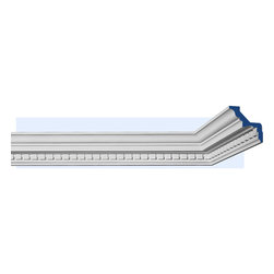 """Inviting Home - Newport Dentil Crown Molding - dentil crown molding 3-3/8""""H x 3-3/8""""P x 4-3/4""""F x 7'10""""L (4 piece minimum required) crown molding specifications: - outstanding quality crown molding made from high density polyurethane: environmentally friendly material is hypoallergenic and fully recyclable no CFC no PVC no formaldehyde; - front surface of this molding has extra durable and smooth surface; - crown molding is pre-primed with water-based white paint; - lightweight durable and easy to install using common woodworking tools; - metal dies were used for consistent quality and perfect part to part match for hassle free installation; - this crown molding has sharp deep and highly defined design; - matching flexible molding available; - crown molding can be finished with any quality paints; Polyurethane is a high density material--it's extremely lightweight and easy to install (and comes primed and ready to paint). It is a green material meaning its CFC and formaldehyde free. It is also moisture resistant--so it won't shrink flex or mold. What's also great about Polyurethane is that it's completely customizable and can be treated as wood (you can saw it nail it screw it and sand it). In addition our polyurethane material comes primed and ready to paint. There is a four piece minimum requirement for this molding purchase."""