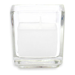 """Jeco - White Square Glass Votive Candles - 12pc/Box - """"Our square glass votive candles are hand poured with unscented paraffin wax. Our lead free wicks also give the cleanest burn possible. Glass votive candles are one of the easiest to use candles on the market. Easy to use and ready to go."""