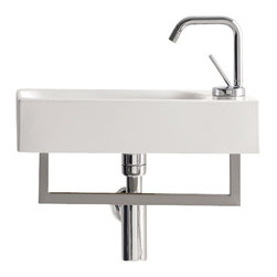 WS Bath Collections - 17.7 in. Bathroom Sink - Includes mounting hardware. Wall hung or counter top installation. With overflow. Faucet hole. Designer high end premium quality. Designed by Marc Sadler. Warranty: One year. Made from ceramic. Made in Italy. 17.7 in. W x 9.8 in. D x 3.9 in. H (15 lbs.). Spec SheetKerasan by WS Bath Collections, designers high-end ceramic washbasins and sanitary ware with the greatest imaginable versatility in application. Models that adhere to the more current trends of design, harmony and elegance.