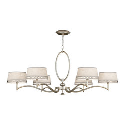 Fine Art Lamps - Allegretto Silver Chandelier, 771740ST - Simply brilliant. This six-light chandelier features a curvy body with graceful, arcing arms in either burnished gold or platinized silver leaf and comes with creamy linen shades accented with a matching pierced metal band. With this piece of eye candy over your dining table, who needs dessert?