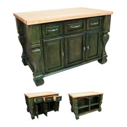 Hardware Resources - Lyn Design ISL01 Kitchen Island, Aqua Green - If you're someone who doesn't like to show all your kitchen clutter, but want a place to organize it in a jiffy, imagine the help of this sturdy and spacious kitchen island. Easy to assemble, attractive and functional — what more do you need in this classic kitchen essential?