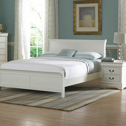 Homelegance - Homelegance Marianne 2 Piece Panel Bedroom Set in White - The Marianne Collection brings the most popular furniture silhouette together with casual painted white or black finishes to create a great choice for youth and guest bedrooms. We have modified the classic lines of the bed by adding low-profile footboard creating a lighter  more airy feel. The Marianne Collection is the best of both comfortable style and simplicity.