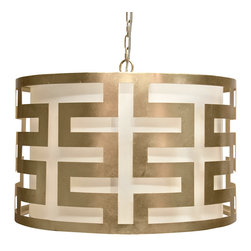 """Worlds Away - Worlds Away Hicks Silver Leaf Greek Key Pendant - The modern Worlds Away Hicks pendant exudes contemporary geometric allure. A glamorous silver leaf finish accents the round light fixture's compelling Greek key design. 24"""" Dia x 15""""H; Silver leaf; White interior shade; Includes canopy and chain; Accepts one 60W bulb (not included)"""