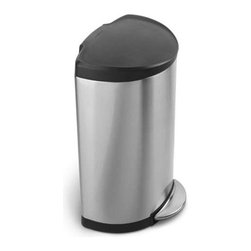 "simplehuman - Semi-Round Step Trash Can with Plastic Lid - Does your trash can ever get in the way? Well don't worry about that anymore, the Simplehuman space-efficient semi-round step can fits flat against the wall with curved edges for easy access around the can. The ease of this step can makes throwing your trash away hassle-free. Features: -Brushed stainless steel with black plastic lid. -All-steel pedal is constructed of a single steel beam for superior durability and a high-end aesthetic. -Open back lid allows you to simply push the lid past 90 degrees to keep it open. -Dent-proof plastic lid is extra durable and easy-to-clean. -Non-skid base. -Smartbucket bag change system eliminates messy bag overhang with an easy three step bag change. -Holds 13 gallon standard tall trash bags. -5 year limited warranty. Dimensions: -37.4"" H x 17"" W x 14.9"" D."