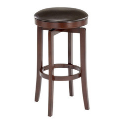 Hillsdale Furniture - Hillsdale Malone Backless Barstool - Simple yet handsomely designed the Malone stool is a fabulous compliment to our Malone bar or any kitchen or bar area. The stool's cherry finish is enhanced by the brown faux leather seat and swivels 360 degrees.