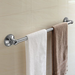 "HotelSpa® AquaCare Series Insta-Mount 18"" Towel Bar - Just showered? No more dripping water and slipping on the floor while reaching for your towel. Now you can place your towel bar anywhere within instant reach, inside or outside your shower. No tools, no drilling, no surface damage."