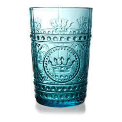 Louis Tumbler - Turquoise - Penetrating color with a subtle, intense brilliance brings the intricate three-dimensional design on the Louis Tumbler in Turquoise to sophisticated heights. This elegant traditional drinking glass relies on the glamorous versatility of rich aqua blue to heighten the impact of the opulent crowns impressed in the walls of this traditional, yet personal addition to your drinkware.