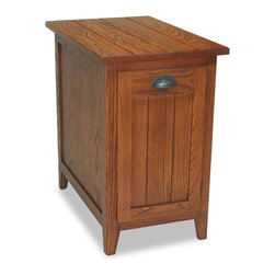 Leick Furniture - Favorite Finds Cabinet End Table in Glazed Ca - Planked, solid Ash top. Adjustable shelf behind door. Blackened, bin pull hardware. Minimal assembly required. 24 in. W x 15 in. D x 24 in. H