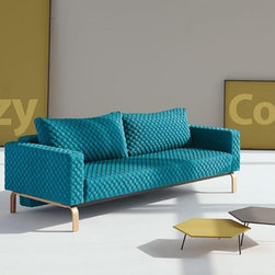"""Innovation USA"" Cassius Coz Petrol Sofa with Lacquered Oak Legs - Features:"