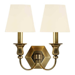 Hudson Valley Lighting - Hudson Valley Charlotte D-2 Light Wall Sconce in Aged Brass - Hudson Valley Lighting's Charlotte's D-2 Light Wall Sconce shown in Aged Brass with a white shade. Charlotte's updated historical styling is suited to the scale of today's homes. Gracefully curved arms extend from the chandelier's six-sided baluster to create a more substantial rendition of a classic design. Charlotte's sculpted physique displays thoughtful details, including the honeycomb-shaped canopy and faceted candle-cups.