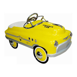 Airflow Collectibles - Airflow Collectibles Yellow Taxi Comet Car Pedal Riding Toy Multicolor - AFC116 - Shop for Tricycles and Riding Toys from Hayneedle.com! Does anyone make those hats that have a card tucked in the band that says Taxi or will you have to just make your own so your kid can really look the part as they ride around on the Airflow Collectibles Yellow Taxi Comet Car Pedal Riding Toy? If their siblings and/or stuffed animals behave themselves they'll let them split the fare as they ride around the driveway in this vintage-inspired riding toy. A vivid yellow finish of lead-free powder-coat covers the rugged metal body that's got all the authentic curves that you'd expect from a vintage taxi. There's no shortage of chrome from the hubcaps to the hood ornament and on all the little touches like the lights side vents and insignia. Heavy-duty rubber tires will grab the road and an adjustable pedal assembly gives you the ability to find just the right position for your child's size. The wraparound padded seat adds plenty of comfort while they cruise around the neighborhood.About Airflow CollectiblesAirflow Collectibles is an Orange Calif.-based company that specializes in the reproduction of vintage children's toys. The streamlined steel tricycles pedal cars and pedal plane replicas have an identical look and feel to the quality toys that were popular in America in the 1930s 40s and 50s. Airflow tricycles aren't merely retro-inspired; they are genuine recreations of beloved heirlooms. Each vehicle is painted with lead-free paint and has been safety tested and approved in the U.S.A.