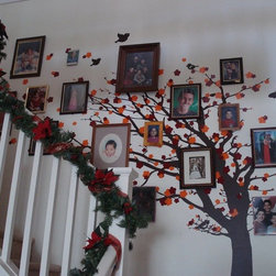 Cherry Blossom Tree - Family Tree - Our cherry blossom tree wall decal was used in this stairway to create an awesome wall of photo memories! We love how it turned out!