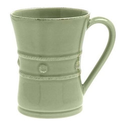 "Juliska - Juliska Berry and Thread Mug Green - Juliska Berry and Thread Mug Green. The generous size of this pistachio green mug allows for more steaming hot coffee on foggy mornings before heading out to the office or a round of golf. It is equally as lovely filled with hot chocolate for a fireside rendezvous with your sweetheart. Dimensions: 4.5"" H x 3.5"" W Capacity: 12 oz"