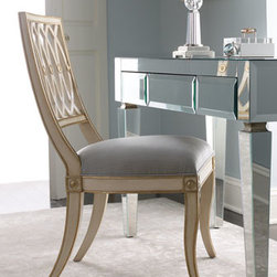 "Maitland-Smith - Maitland-Smith Pillar Chairs - Maitland-Smith chair is handcrafted of mahogany and hand painted in white. Gilded gold accents and an Aegean blue silk seat cushion transform it into something remarkable. Sold in pairs. 20""W x 25""D x 37""T. Imported."