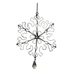 Rusted Wire Snowflake With Crystal Drop - These are beautifully crafted wire ornaments with jewels that are handcrafted in Egypt.