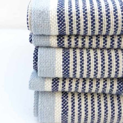 """Ebbtide Day Blanket - With the fitting moniker """"Ebbtide,"""" these hand-loomed cotton and linen blankets sport all the colors of waning waters."""