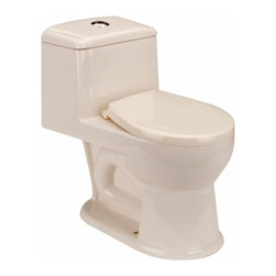 Renovators Supply - Toilets Bone Kids Loo Child-size Toilet 1.25 gpf | 11887 - Child-size Toilets: Child-friendly- stylish one-piece toilet comes in a bone finish. Accepts a 12 inch rough-in for easy swap out- includes plastic seat and easy-reach top push-button flush. This juvenile sized toilet matches our WeeWash or Lil' Tykes' Lav pedestal sink- sold separately. Requires only 1.25 gallons of water per flush rather than the usual 1.6 gallons. Measures 19 1/2 H x 10 3/4 in. W x 12 in. rough-in.