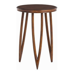 "Arteriors - Arteriors Home - Sabre Mahogany Veneer and Solids Accent Table - The three delicate mahongany legs of this Gio Ponti inspired table slope to a point beneath a round top. Features: Sabre Collection Accent TableMahogany Finish Some Assembly Required. Dimensions: H 18 1/2"" x 13"" Dia"