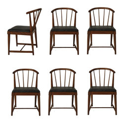 Danish Modern Spindle Back Chairs - Set of 6 -