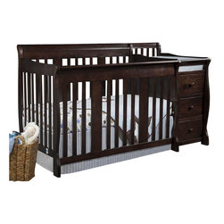 Stork Craft - Stork Craft 4-in-1 Portofino Crib & Changer Combo in Espresso - Stork Craft - Cribs - 04586479 - The beautiful solid construction of the Portofino 4 in 1 Fixed Side Convertible Crib Changer by Stork Craft with its magical sleigh design makes this a royal centerpiece for your nursery.  All four sides are stationary and include an adjustable three position mattress support base to add to the security and stability of this versatile crib. It has a well built construction made of solid wood and wood products offered in a selection of non toxic durable finishes. Designed for multiple stages of life; it converts from a full size crib to a toddler bed to a daybed to a full-size bed (bed rails not included).  The attached changer is designed with safety in mind with an extra deep surface for added security and stability while changing your baby. Complete your nursery look by adding an assortment of matching accessories: a chest dresser or glider and ottoman by Stork Craft.   Set-up this extravagant piece effortlessly with it's easy to follow directions into a crib that's perfect for your babies' sweet delicate slumber. Features: