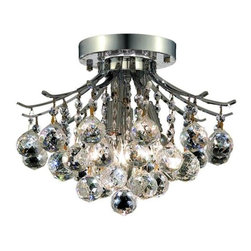 Elegant - Toureg Chrome Royal Cut Flush Mount Chandelier - The Toureg Collection sparkles with an extraordinary display of octagons and faceted crystal balls offering an uninterrupted cascade of crystal.