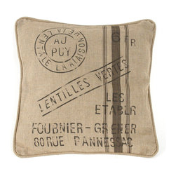 """Zentique - French Pillow, """"Lentilles Vertes Les Establr Foubnier-Grener 80 Rue Pannessac"""" - The French Pillow collection features a natural linen pillow with variations to choose from."""