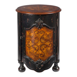 Butler Specialty - Butler Kenwood Black and Tan Drum Table - This gorgeous drum table definitely marches to a different beat. Featuring an intricate walnut veneer inlay pattern against a backdrop of olive ash burl veneer on both the top and door panel, it is expertly crafted from poplar hardwood solids and wood products with a black hand-painted finish. This very sophisticated piece will be a bright spot in any space.