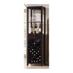 Wholesale Interiors - Baxton Studio Austin Contemporary Wine Tower - Lattice-style wine rack. Open shelving. One drawer and small sliding cutting board. Wine glass storage slots. Silver drawer pulls and hardware. Wipe clean with a dry cloth. MDF with dark brown rubber wood veneer. Dark brown finish. Made in Malaysia. Assembly required. 18.8 in. W x 14.85 in. D x 68.93 in. H (80 lbs.)Every wine connoisseur wants to showcase their wines, not hide them in a cellar. The Austin Wine Tower is a contemporary, stylish solution to storing a small wine collection and makes it easier than ever to pop open a bottle of vino when the occasion arises.