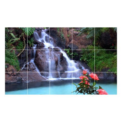 Picture-Tiles, LLC - Waterfall Picture Kitchen Bathroom Ceramic Tile Mural  36 x 60 - * Waterfall Picture Kitchen Bathroom Ceramic Tile Mural 2031