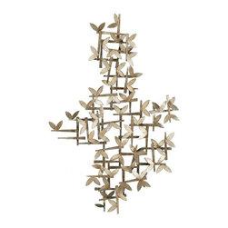 Paragon Decor - Butterfly Dreams - Golden aged stylized butterflies flit and flutter on lattice framework.
