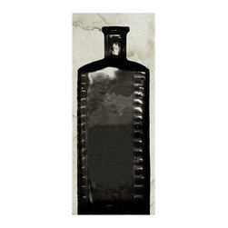 Kathy Kuo Home - Copper River Industrial Loft Bottle Black White Photo Wall Art - D - Unframed - Don't keep things bottled up! Display them for all to see. Aged to perfection, this piece of artwork is a must-have for your collection. The grainy photo's subject matter is a bottle dating back 200 to 300 years that was discovered in Alaska. Perfect anywhere, but especially cool in an industrial loft or contemporary space.