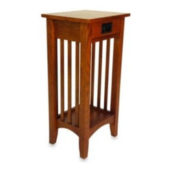 Wayborn Home Furnishing Inc - Mission-Style Wood Pedestal Stand/Side Table in Brown - With strong lines and wood-grain flat panels, this stand exemplifies the beauty of Mission-style furniture. Perfect for an entryway, empty corner, or nook, it provides a solid base for a vase of flowers, statuette, sculpture, and more.