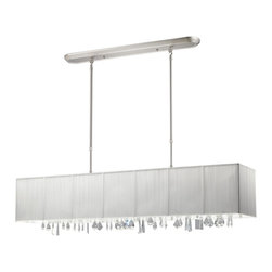 Z-Lite - Z-Lite 5 Light Island/Billiard - Beautiful white ribbons surround this elegant rectangular fixture, which is suspended from telescoping finished in brush nickel hardware, to ensure the perfect height. In contrast, solid glittering crystals hang from the bottom of this fixture to add additional beauty to an already beautiful fixture.