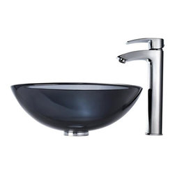 Kraus - Clear Black Glass Vessel Sink and Visio Bathroom Faucet Chrome - Add a touch of elegance to your bathroom with a glass sink combo from Kraus