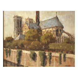 'Notre Dame, Paris' Framed Oil Painting - Now you can dream of Paris from the comfort of your own couch. Renowned impressionist artist Brent Jensen captures the historical beauty and significance of the Notre Dame de Paris in this original oil painting.