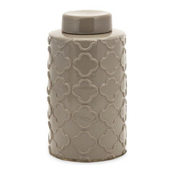 Large Printed Taupe Jar - Whether you need a hideaway or just something sweet for the shelf, you can't go wrong with this glossy, charmingly neutral lidded jar. The surface is embossed with a Moroccan tile pattern for some subtle texture.