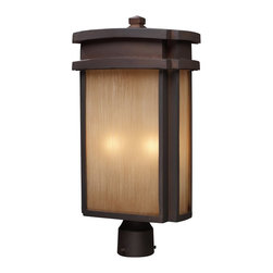 Elk Lighting - Elk Lighting Sedona Traditional Outdoor Post Lantern Light X-2/44124 - This Elk Lighting outdoor post lantern light from the Sedona Collection features soft, gentle curves and crisp, clean lines that hint at mission influencing. This contemporary outdoor lighting fixture comes finished in warmer tones that help give it a more traditional appeal. The frame features a charming Clay Bronze hue that compliments the elegant look of the caramel beige glass window panes.
