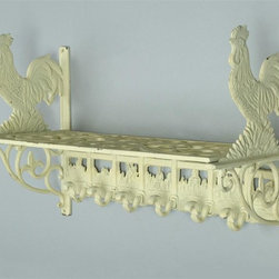 AA Importing - Cast Iron Wall Shelf in White Finish w Rooste - Typical French country design nearly always includes a distinctive rooster design just like this handsome cast iron wall shelf.  The beautiful scroll work is enhanced by fleur-di-lis designs in a versatile antique white finish.  Six handy hooks are perfect for wraps, hats, scarves, keys, or whatever you need to keep organized.  Ideal for any room to add a touch of pure and fresh country charm. White painted cast iron. Hanging hardware included. Pictured in rooster design. 18 in. L x 8 in. W x 11.5 in. H