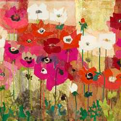 ANEMONES Mixed Media Collage, Small - 22 x 13 inches