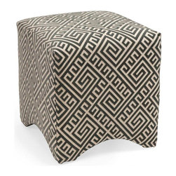 IMAX Worldwide - IMAX Worldwide Marisa Graphic Ottoman in White, Grey - Made in the USA. Merging fashionable upholstery and timeless design, this collection of quality furniture is made by skilled craftsmen and is an essential for any home or office. Made of U.S. and imported parts.