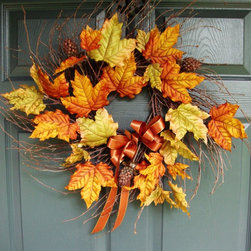 Fall Leaves Wreath by HomeHearthGarden - Silk autumn color leaves adorn this beautiful wispy fall wreath and is accented with a contrasting color bow and artificial berries. An attractive, natural looking, home decor accent for any door, wall, or over the mantle.