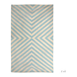 Jonathan Adler - Jonathan Adler Bridget Light Blue/Natural Rug - Jonathan Adler's Bridget rug introduces the natural artistry of a kilim reinterpreted for today's style. The psychedelic pattern in light blue and white marvels the eye as well as any space it enters. Diagonal stripes in blue and white; 100% New Zealand wool; Sustainably hand-loomed by master weavers in India; Rug pad recommended