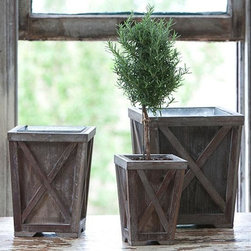 Home Decorators Collection - Town & Country Planter - Our Town & Country Planter features a beautiful, rustic design with crisscross brackets on each side. Made of natural wood with a galvanized liner, the planter will expertly hold your favorite perennial. Order yours now. Natural wood construction with a galvanized liner. Slight antiqued finish.