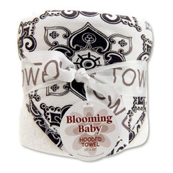"Trend Lab - Bouquet Hooded Towel - Versailles Black & White - Trend Lab's Versailles Black and White Hooded Towel will keep your baby warm and dry after bath time. The white terry towel features a cotton twill damask print throughout the hood and trim in black and white. Hooded towel measures 32"" x 30""."