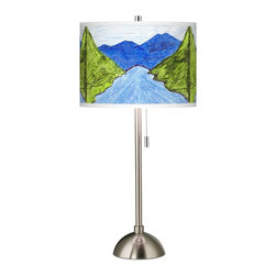 "The School Fund - Contemporary Green Mountain Giclee Brushed Steel Table Lamp - This brushed steel table lamp features a custom printed art shade with a Green Mountain pattern. The pattern design was created by a student sponsored by The School Fund an organization that helps support the education of children from low-income countries around the world. Each bright and colorful pattern in the collection is based on original student artwork and represents a fascinating view of their homeland's unique culture and heritage. Proceeds from the sale of this design will be donated to The School Fund to help pay for children's school fees and support their ongoing activities. Shade printing process U.S. Patent # 7347593. Brushed steel finish. Custom printed giclee art shade. Green Mountain pattern. Part of the Light for Education collection. Maximum 100 watt or equivalent bulb (not included). 28"" high. Shade is 13 1/2"" wide 10"" high.  Green Mountain pattern.  Pattern artwork by Kenyan student Wanjala.  Custom printed giclee art shade.  Part of the Light for Education collection.  More information at TheSchoolFund.org  Sponsored by Kathy Ireland Home.  Brushed steel finish.  Maximum 100 watt or equivalent bulb (not included).  28"" high.  Shade is 13 1/2"" wide 10"" high."
