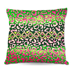 DiaNoche Designs - Pillow Linen by Julia Di Sano - Leopard Trail Pink Green - DiaNoche Designs works with artists from around the world to create astouding and unique home decor products.  Add a little texture and style to your decor with our Woven Linen throw pillows.  The material has a smooth boxy weave.  Each pillow is machine loomed, then printed and sewn ALL IN THE USA!!!  100% smooth poly with cushy supportive pillow insert with a hidden zip closure. Dye Sublimation printing adheres the ink to the material for long life and durability. Double Sided Print, machine wash upon arrival for maximum softness. Product may vary slightly from image.